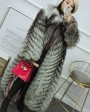 Full length Silver Fox Fur Long Coat 395c