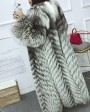 Full length Silver Fox Fur Long Coat 395d