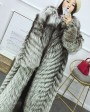 Full length Silver Fox Fur Long Coat 395e