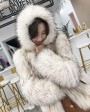 Hooded Knitted Raccoon Fur Jacket 307d