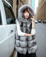 Hooded Silver Fox Fur Vest 693 Silver 1