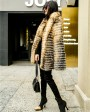 Knitted Red Fox Fur Coat in Golden 0019c
