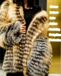Knitted Red Fox Fur Coat in Golden 0019e