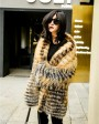 Knitted Red Fox Fur Coat in Golden 0019g