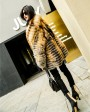 Knitted Red Fox Fur Coat in Golden 0019h
