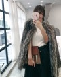 Knitted Silver Fox Fur Coat 0020c