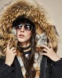 Raccoon Fur Trimmed Hooded Parka with Detachable Fox Fur Liner 116ag