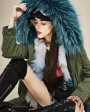 Raccoon Fur Trimmed Hooded Parka with Detachable Fox Fur Liner 134a3