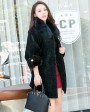 Shearling Lambwool Coat with Fox Fur Collar 735 Black 1