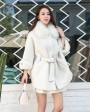 Shearling Lambwool Coat with Fox Fur Collar 735 White 1