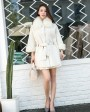 Shearling Lambwool Coat with Fox Fur Collar 735 White 2