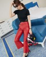 Sheepskin Real Leather Cropped Pants 021h