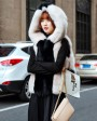 Two-tone Hooded Fox Fur Vest 692 White 3