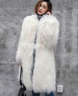 3/4 Length Tibet Sheep Fur Long Coat