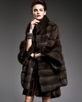 Batwing Sleeved Sable Fur Coat
