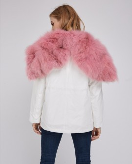 Detachable Fox Fur Lined Cropped Parka with Zipped Hood