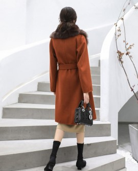 Fox Fur Trimmed Cashmere Long Belted Coat