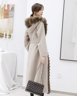 Fox Fur Trimmed Cashmere Long Belted Hooded Coat