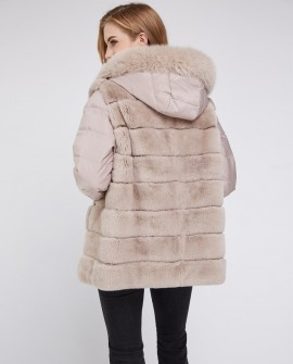 Fox Fur Trimmed Hood Rex Rabbit Fur Jacket with Detachable Down-filled Sleeves