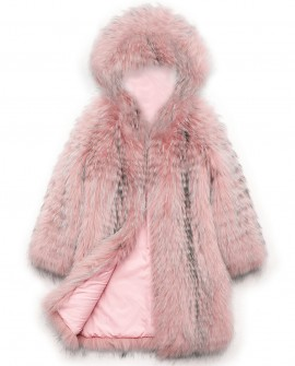Hooded Raccoon Fur Coat