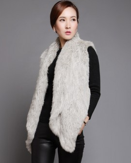 Knitted Rabbit Fur Vest in Gray