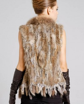 Knitted Rabbit Fur Vest with Raccoon Fur Trim