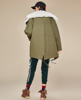 Lamb Fur Trimmed Parka with Quilted Liner