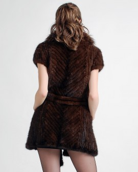 Mink Fur Knitted Jacket with Raccoon fur collar