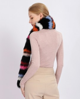 Multicolored Fox Fur Shawl