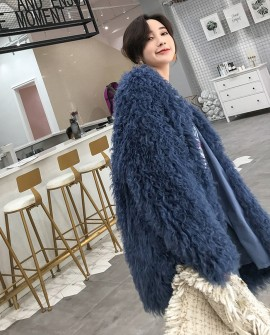 Oversized Knitted Lamb Fur Coat