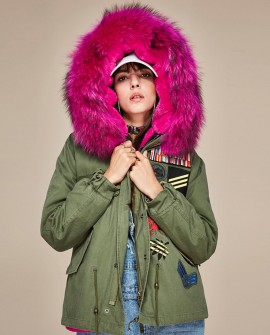 Raccoon Fur Trimmed Hooded Mini Parka with Detachable Liner