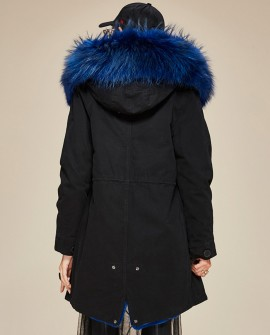Raccoon Fur Trimmed Hooded Parka with Detachable Liner