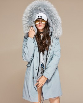 Raccoon Fur Trimmed Hooded Parka with Detachable Fur Liner