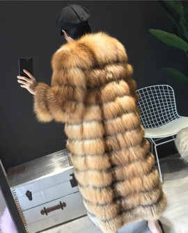 Red Fox Fur Coat Long Style in Natural Golden