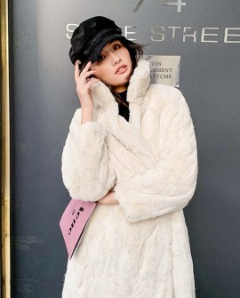 Rex Rabbit Fur Long Coat Cream-White