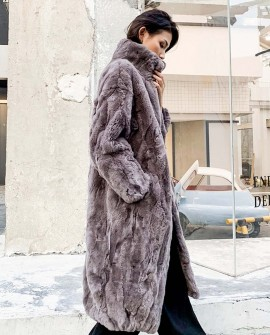 Rex Rabbit Fur Long Coat in Coffee