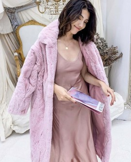 Rex Rabbit Fur Long Coat in Pink