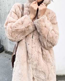 Rex Rabbit Fur Long Coat in Khaki
