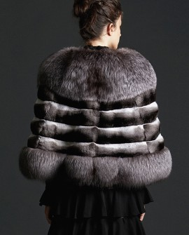 Silver Fox Fur Trimmed Chinchilla Fur Cape