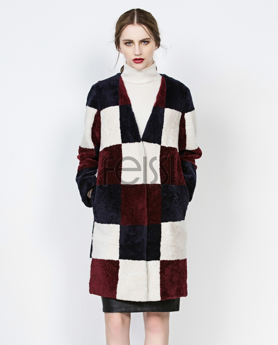 3-4 Length Plaid Shearling Lambwool Coat 712 Wine 1