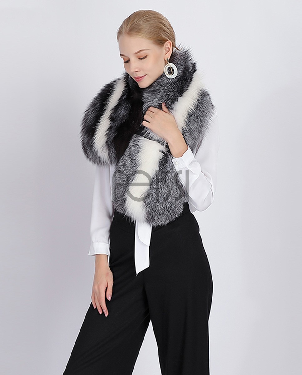 Belted Fox Fur Stole 361a
