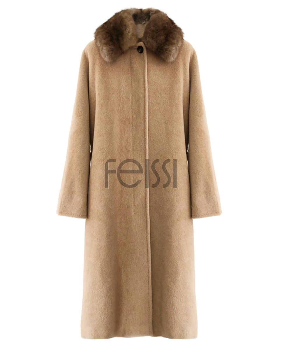 Belted Long Woolen Coat with Sable Fur Trimmed Collar 0057a