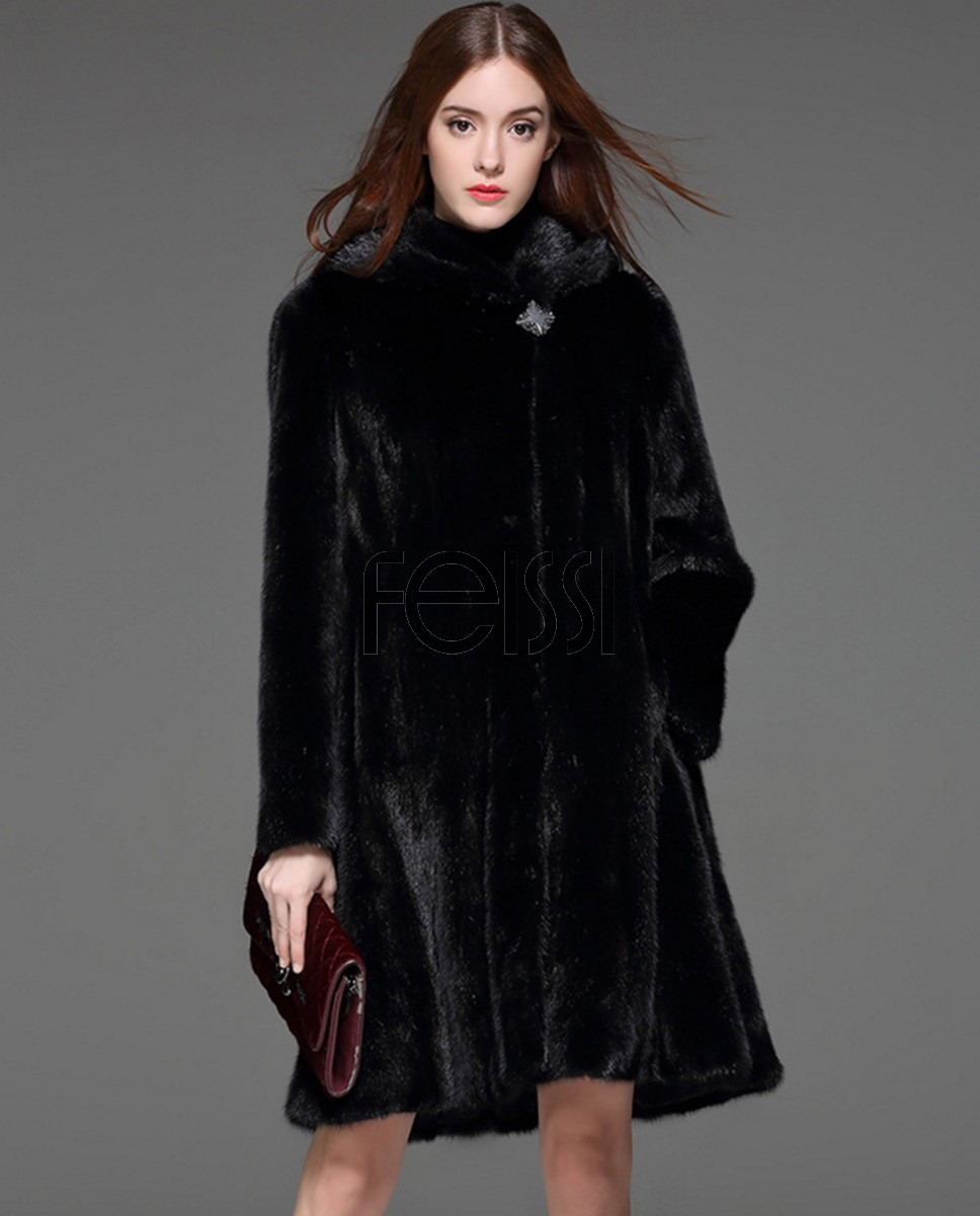 Black Mink Fur Coat 828a