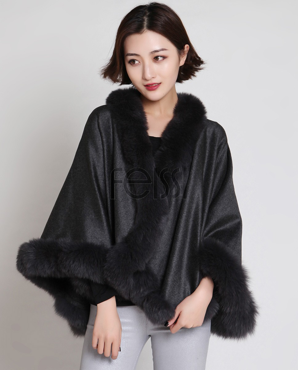 Cashmere Cape with Fox Fur Trim 880 Gray 1