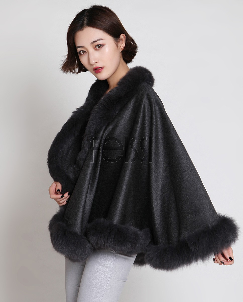 Cashmere Cape with Fox Fur Trim 880 Gray d