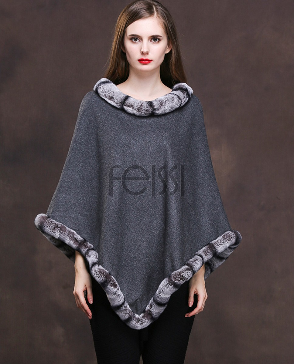 Cashmere Poncho with Rex Rabbit Fur Trim 140a1