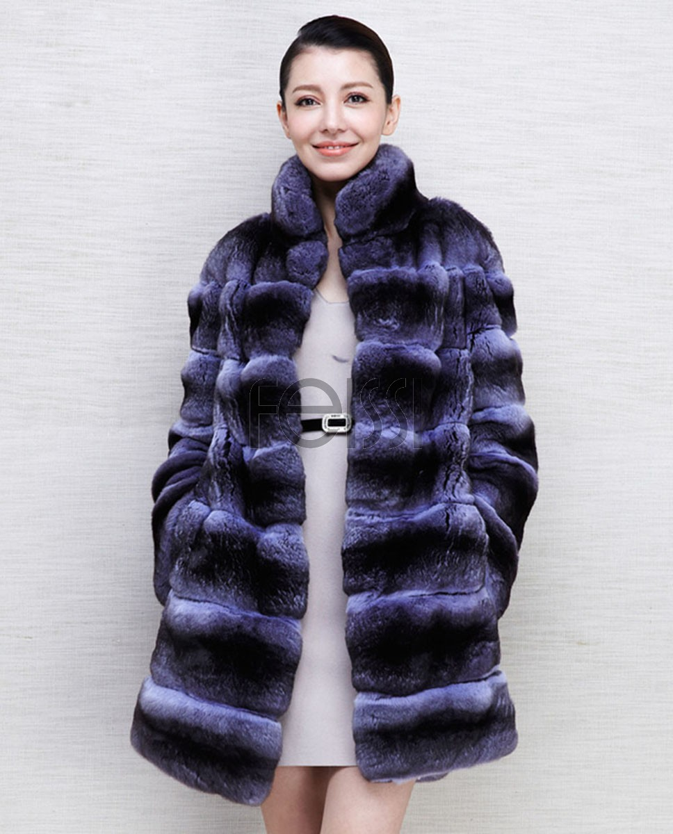 Chinchilla Fur Coat 569 Blue 1