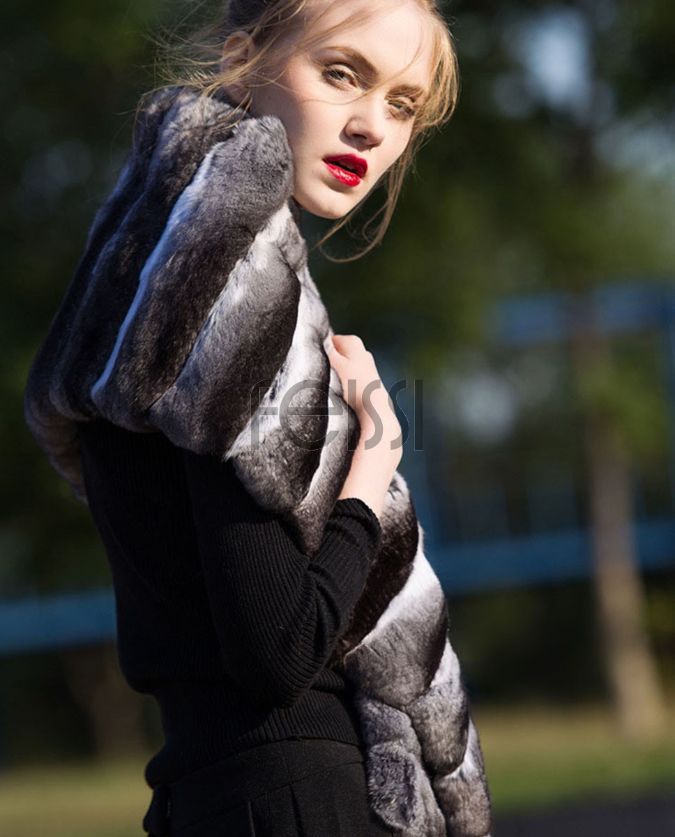 Chinchilla Fur Shawl, Cape Stole 675a_1