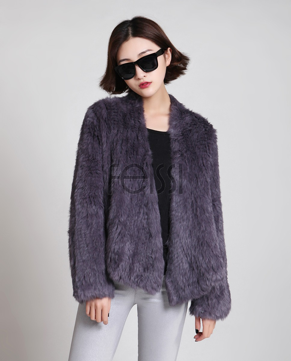 Collarless Knitted Rabbit Fur Coat 717 Gray 2