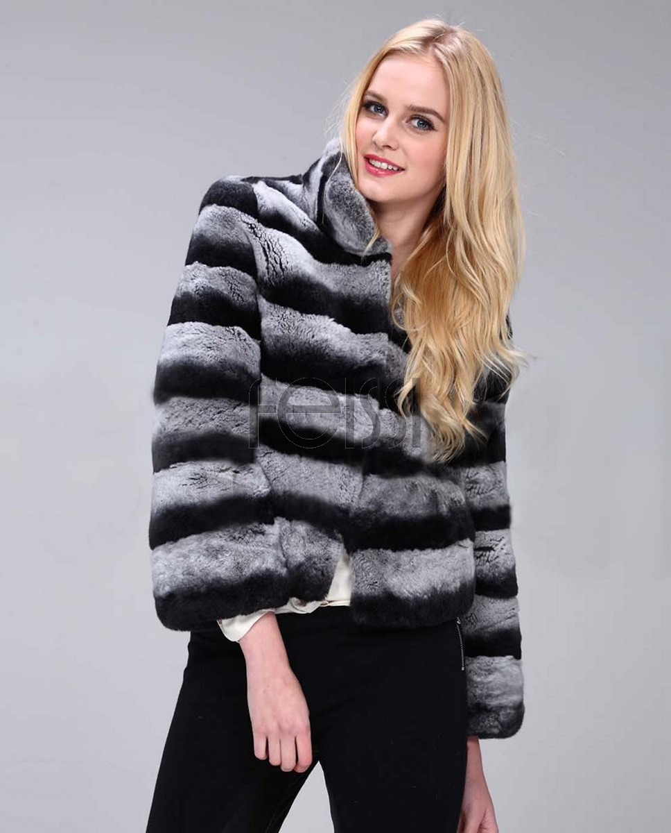Cropped Rex Rabbit Fur Jacket 763b
